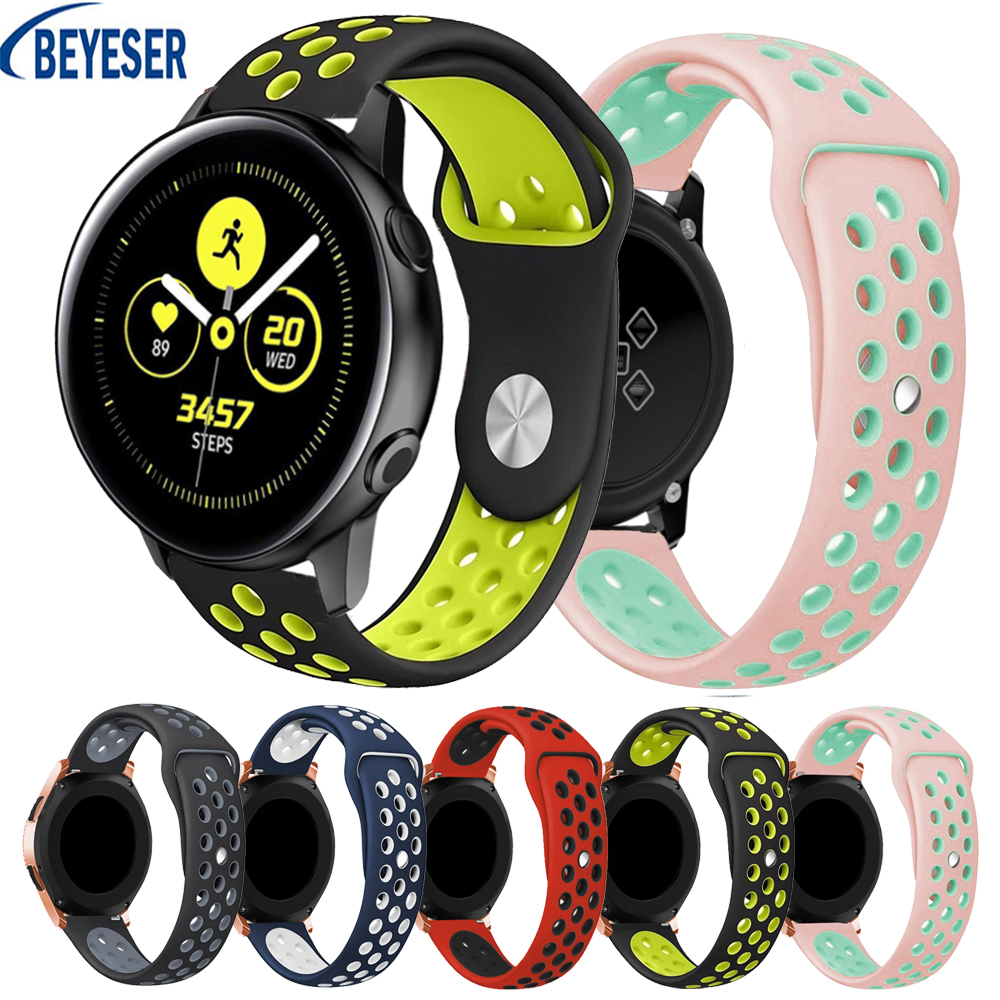 20mm Sport Colorful Silicone WatchBand For Samsung Galaxy Watch Active Active2 40mm 44mm Smart Watch Replacement Strap Wristband