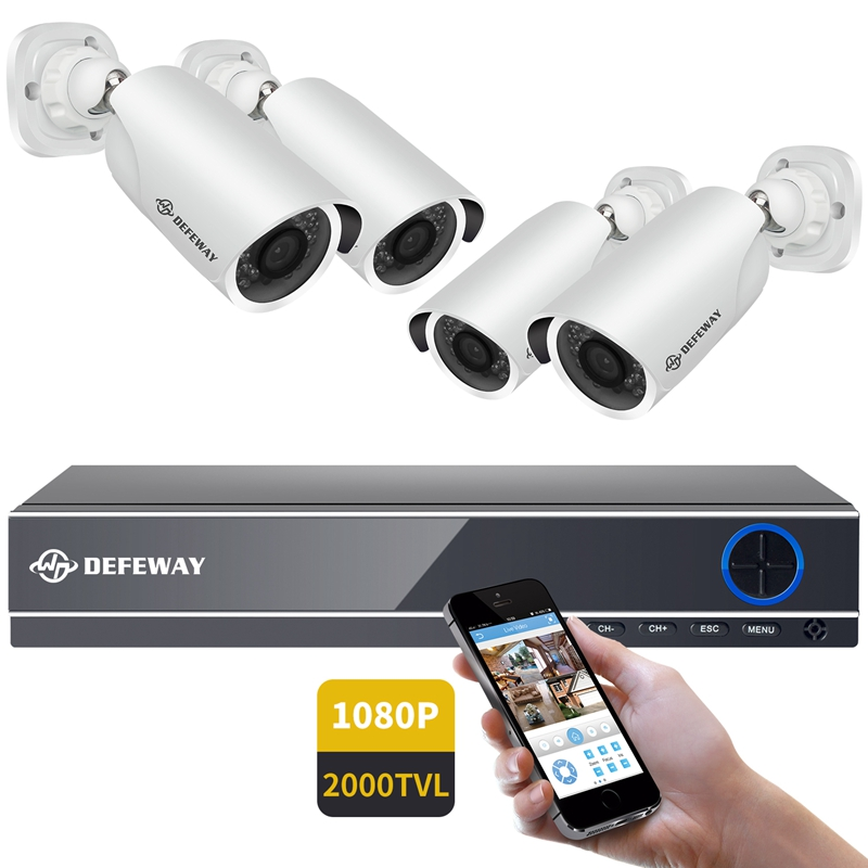 DEFEWAY Kit Camera Video Surveillance 1080P CCTV System 8CH Surveillance Camera System 4 Security Camera Video Surveillance Kit