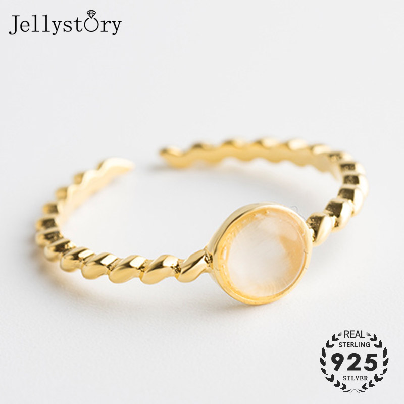 Jellystory Trendy Open Rings 925 Sterling Silver with Moonstone Gemstone for Women Fashion Fine Jewelry Adjustable Ring Wedding
