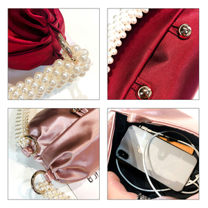 Image 5 - Pearl Handle Boston Handbag Women 2019 Autumn New Korean Handmade Pillow Nylon Red Tote Evening Clutch Bag Female Famous