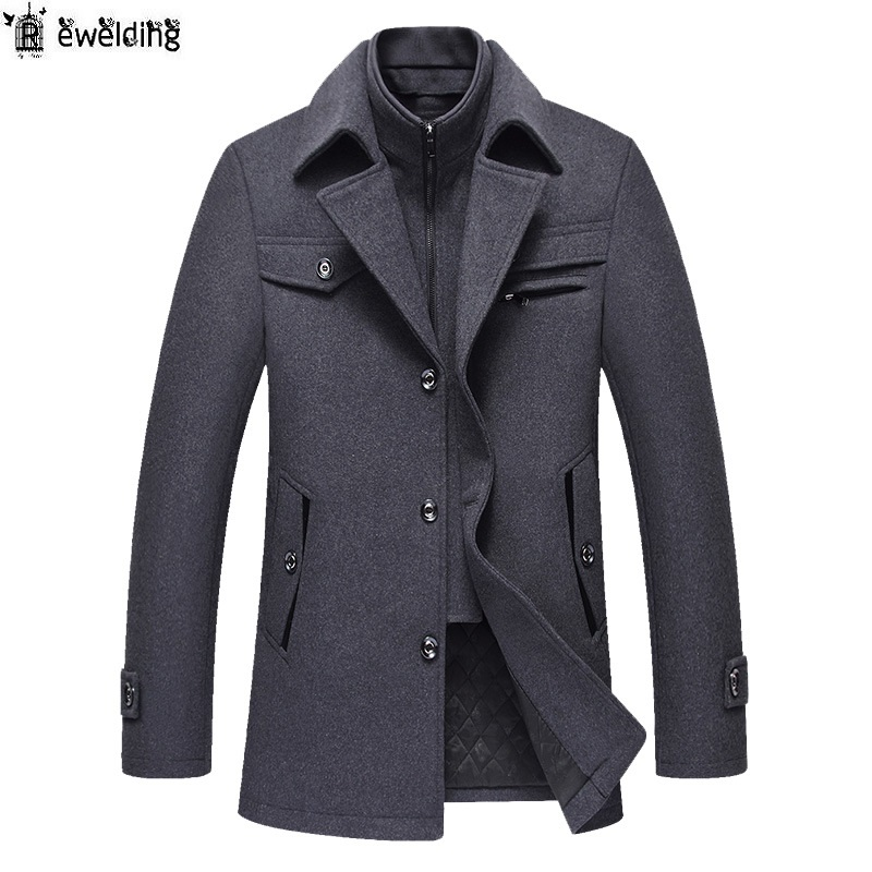 Men Autumn Winter Wool Coat Men's New Fashion Warm Thick Comfortable Wool Blends Woolen Pea Coat Male Trench Coat Overcoat