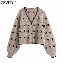 Zevity – Cardigan brodé Vintage pour femmes, col en V, pull en tricot, Chic, manches lanternes, hauts, manteau, S596, 2021