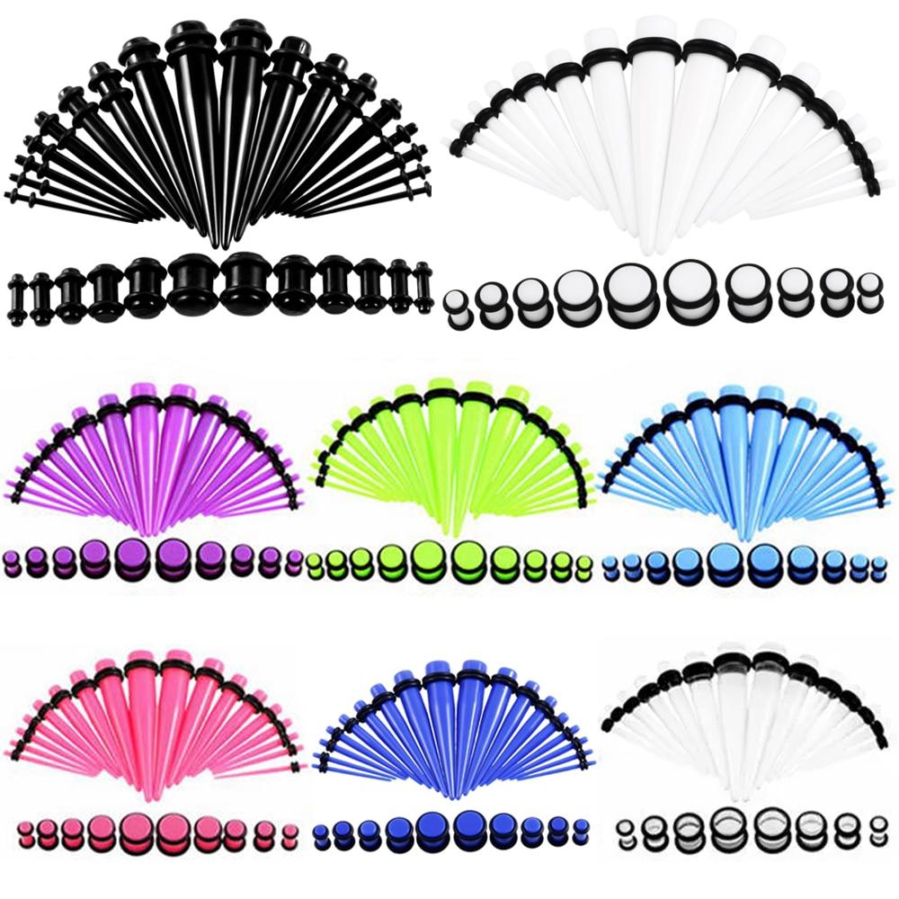 Набор акриловых конусов для растяжки ушей 36 шт./лот, разноцветные туннели для расширения ушей и тела, ювелирные изделия для пирсинга, 14-00 г