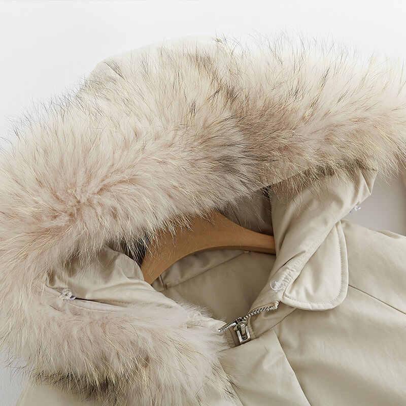 Imbottiture Parka Delle Donne di Anatra Imbottiture Giubbotti Femminile Cappotto di Inverno 2020 Nuovo Lungo Hoody Naturale Cappotto di Pelliccia di Procione Più Il Formato 19R02135