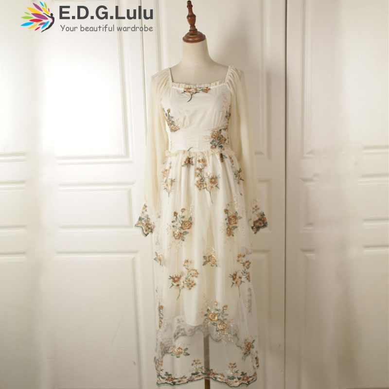 EDGLuLu designer <font><b>dresses</b></font> runway 2019 square neck long sleave vintage print embroidery white chiffon elegant fairy <font><b>dress</b></font> image