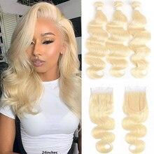 Body Wave Bundles With Closure 4x4 613 Honey Blonde Brazilian 9A Remy 100% Human Hair 3/4 Pcs Bundles With Lace Closure Euphoria