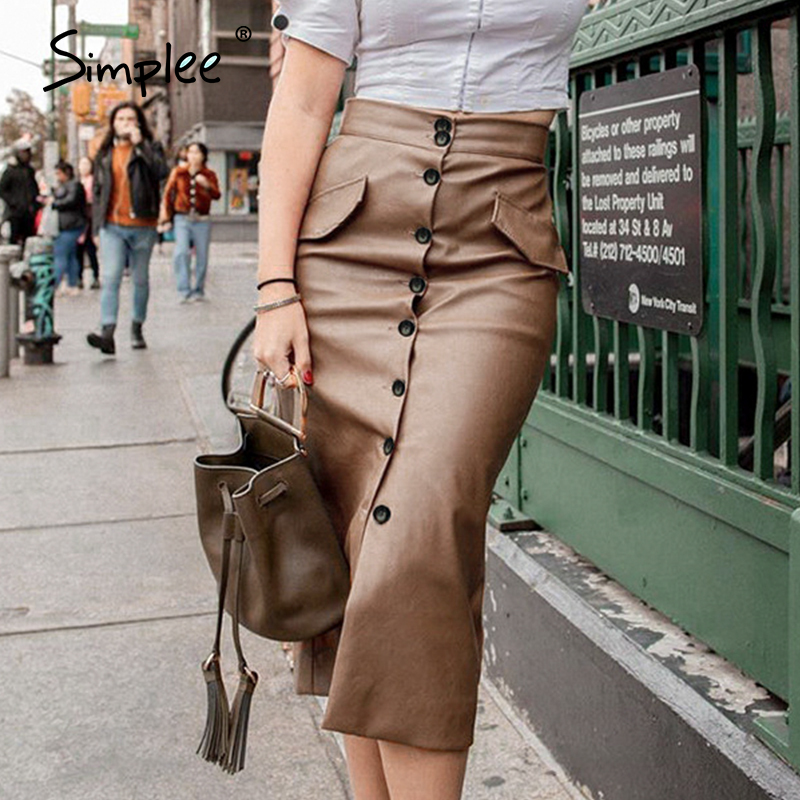 Simplee Sexy Button Fur Leather Women Skirts Casual Bodycon Female Midi Skirts Solid PU Office Ladies Party Wear Skirts 2020