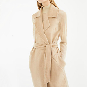 beige New fashion autumn winter 2020 detachable small coat Long Double Breasted lace up slim women's woolen coat C361