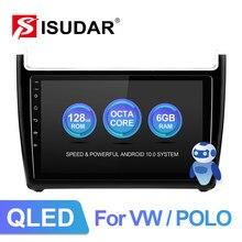 Isudar v72 qled android 10 rádio do carro para vw/volkswagen/polo sedan 2009-2017 carro multimídia ram 6gb 4g câmera dsp carplay sem 2din