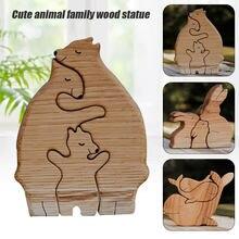 Niedlichen Tier Familie der Mutter Tag Geschenk Holz Statue Desktop Ornament Office Home Dekoration Zubehör Room Decor Dekoration