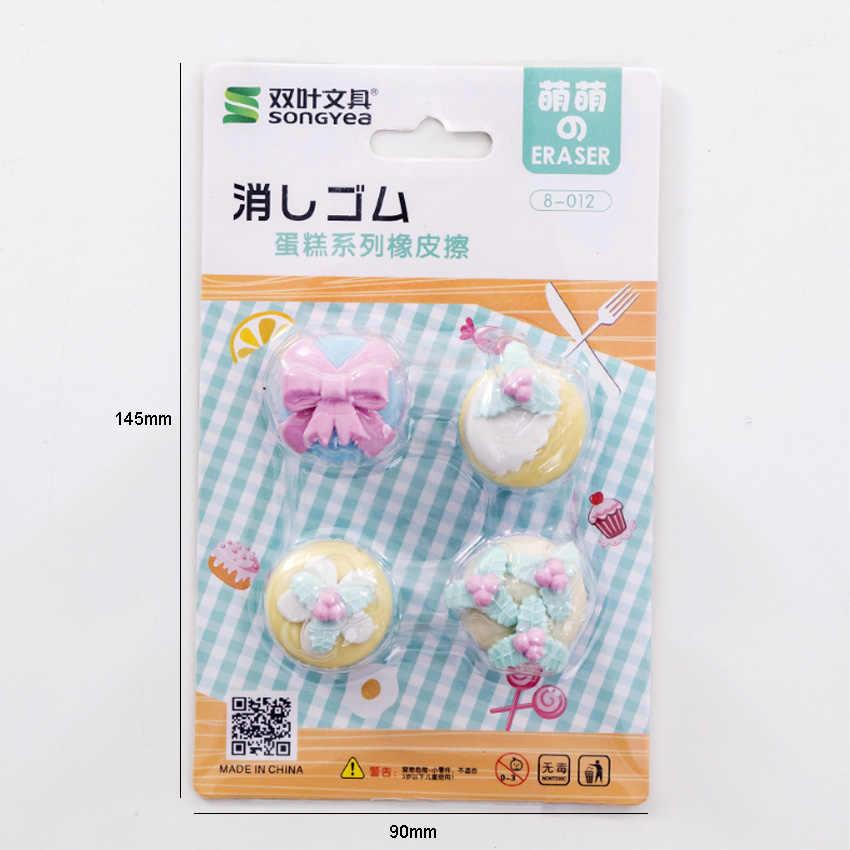 4 unidades/pacote bonito fantasia sobremesa bolo borracha conjunto kawaii papelaria presente escola material de escritório kawaii borracha escolar
