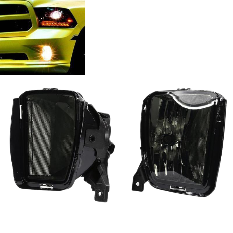 1 Pair 12V <font><b>3000K</b></font> <font><b>HB4</b></font> Smoked Lens Car Front Bumper Fog Halogen Lights with <font><b>Bulbs</b></font> for Dodge RAM 1500 2013 - 2018 image