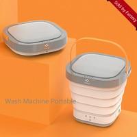 Moyu 접이식 미니 세탁기  휴대용 소형 세탁 탈수 세탁기  비즈니스  여행 (흰색  분홍색) 220V