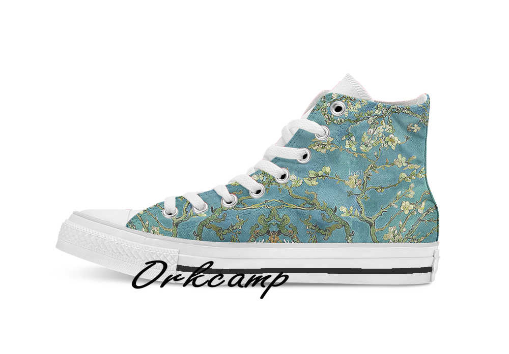 Van Gogh Almond Blossoms Custom Casual Hoge Top Lace-Up Canvas Schoenen Sneakers Drop Shipping