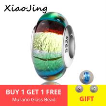 diy rainbow charms 925 silver sparkling Murano glass beads fit authentic pandora bracelet fashion jewelry accessories for gifts