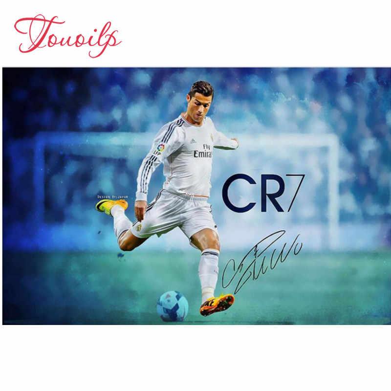 Deportes Cristiano Ronaldo pintura sobre lienzo decoración de la habitación, DIY bordado de diamantes cuadrado completo, pintura de diamantes, mosaico de diamantes