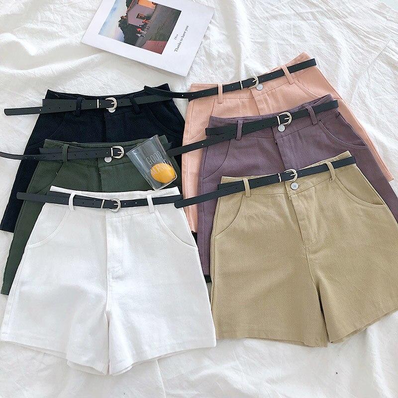 Formal Casual Denim Short Women Wide Leg Elastic High Waist With Sashes Trouser Korean Student Casual Jeans Bottoms