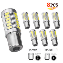 цена на P21W Ba15s 1156 Car LED Signal Light Bay15d 1157 12V Tail Trun Brake Reverse Parking Bulb White 33SMD Fog Daytime Running Light