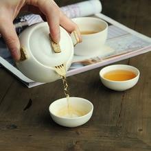 الصينية الكونغ فو طقم شاي الأبيض الخزف إبريق شاي من السيراميك مات شعاع وعاء اليابانية فنجان شاي المنزلية المحمولة في الهواء الطلق السفر Gaiwan