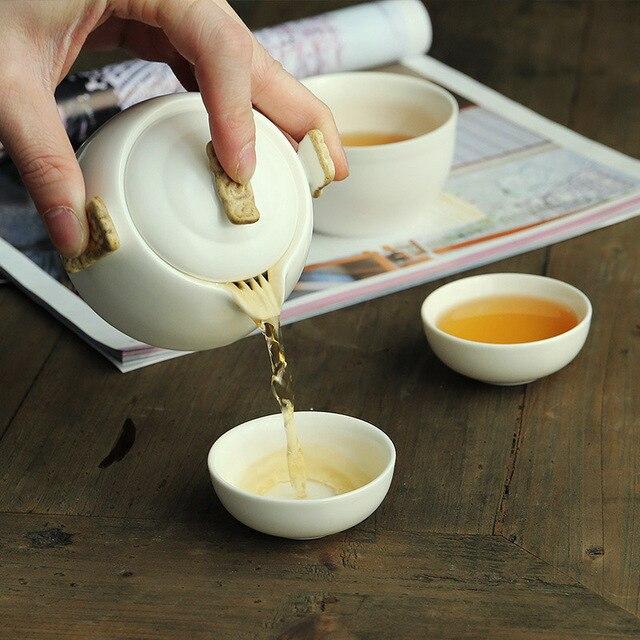 סיני קונג פו תה סט לבן פורצלן קרמיקה קומקום מאט סיר קרן יפני ביתי תה כוס נייד חיצוני נסיעות Gaiwan