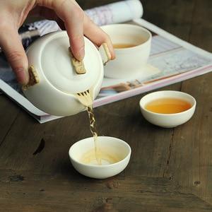 Image 1 - Kungfú chino juego de té de porcelana blanca, tetera de cerámica, olla de rayo mate, taza de té japonesa para el hogar, portátil, para viajes al aire libre, Gaiwan