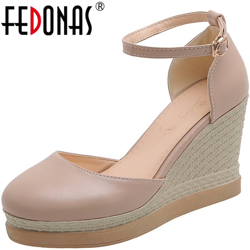 FEDONAS  Women Pumps Wedges Heels Night Club Shoes Spring Summer Four Season Lace Up  High Heeled Concise Shoes Woman