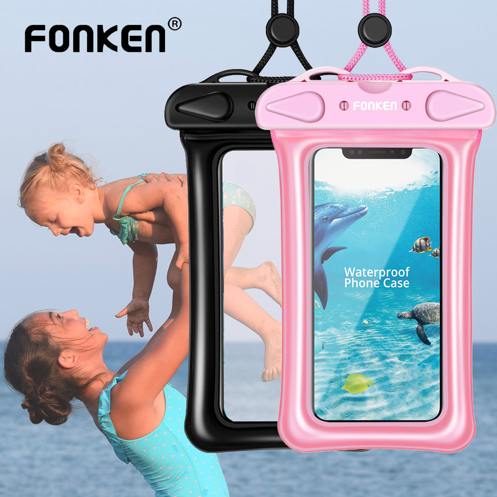 FONKEN Waterproof <font><b>Case</b></font> for Phone Underwater Mobile phone Dry Bag Airbag float Storage Pink Pouch Women Seaside Diving Bags image