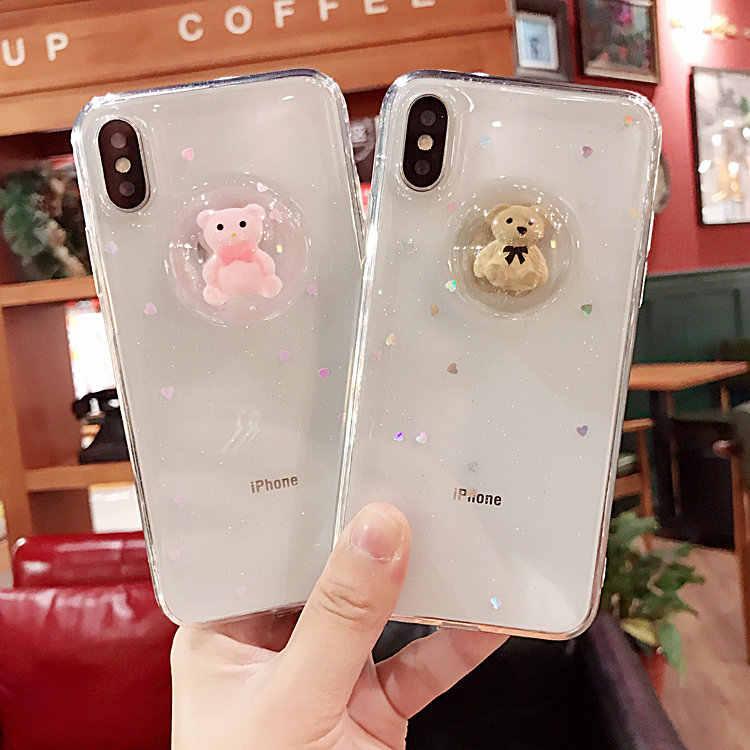 Dành Cho iPhone 6 S 7 8 Plus X XS Max XR 11 Max Pro Cho Samsung S7 Edge S8 S9 s10 Note 8 9 10 Plus Dễ Thương 3D Gấu Mềm Điện Thoại Ốp Lưng