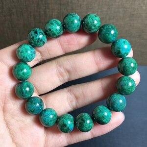 Image 2 - 12.2mm טבעי ירוק מלכיט צמיד נשים גברים מתנה ריפוי למתוח Chrysocolla עגול חרוז קריסטל צמיד תכשיטי AAAAA