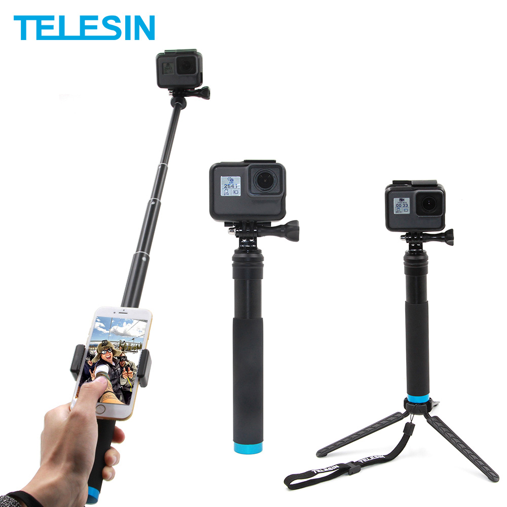 TELESIN alliage d'aluminium Selfie bâton extensible télescope de poche pôle monopode trépied de montage pour GoPro Xiaomi Yi DJI Osmo Action