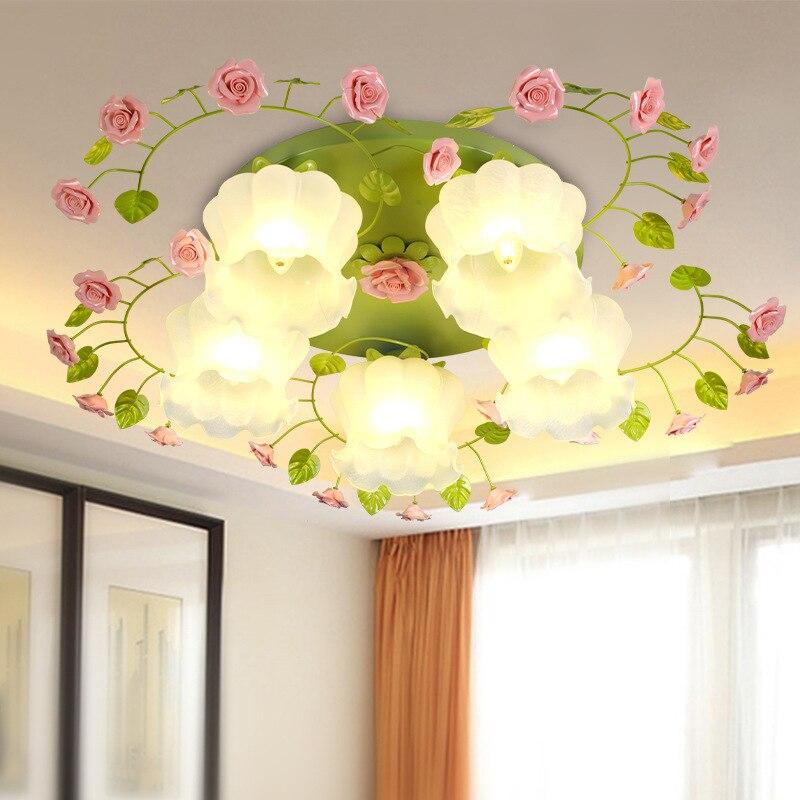 American Rural Flower Ceiling Lights LED Rose Lights Glass Shade Home Living Room Rural Ceiling Lamp Girls Bedroom Lights D67
