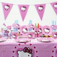 Party Decoration 129Pcs/159Pcs Hello Kitty Cartoon birthday Decoration Kids Birthday Party Supplies Disposable Tableware Set