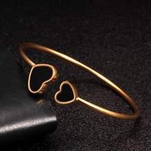 Позолоченные Браслеты манжеты из нержавеющей стали в форме сердца