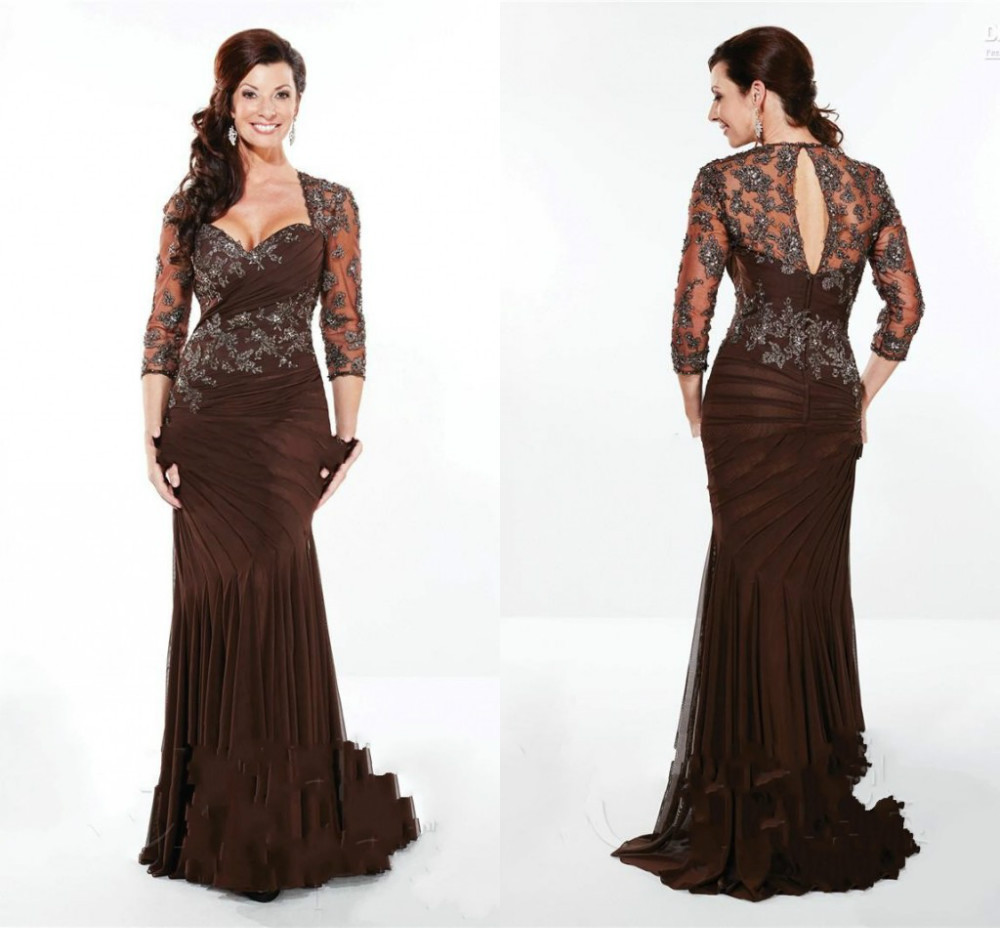 2014 Mother Of Bride Dresses A Line Sweetheart Sweep Train 3/4 Sleeves Jacket Pleats Applique Beaded Chiffon Decent Formal Dress