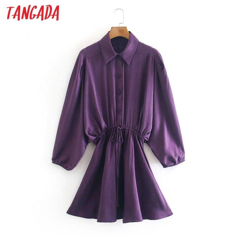 Moda de mujer Tangada de satén púrpura, Vestido camisero, novedad, Primavera, manga larga, suelto, minivestido 2W40