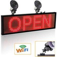12V Car WIFI LED Display Board Red Color 64*16 Pixels Programmable LED Scrolling Message Display Indoor Board P5 LED Sign