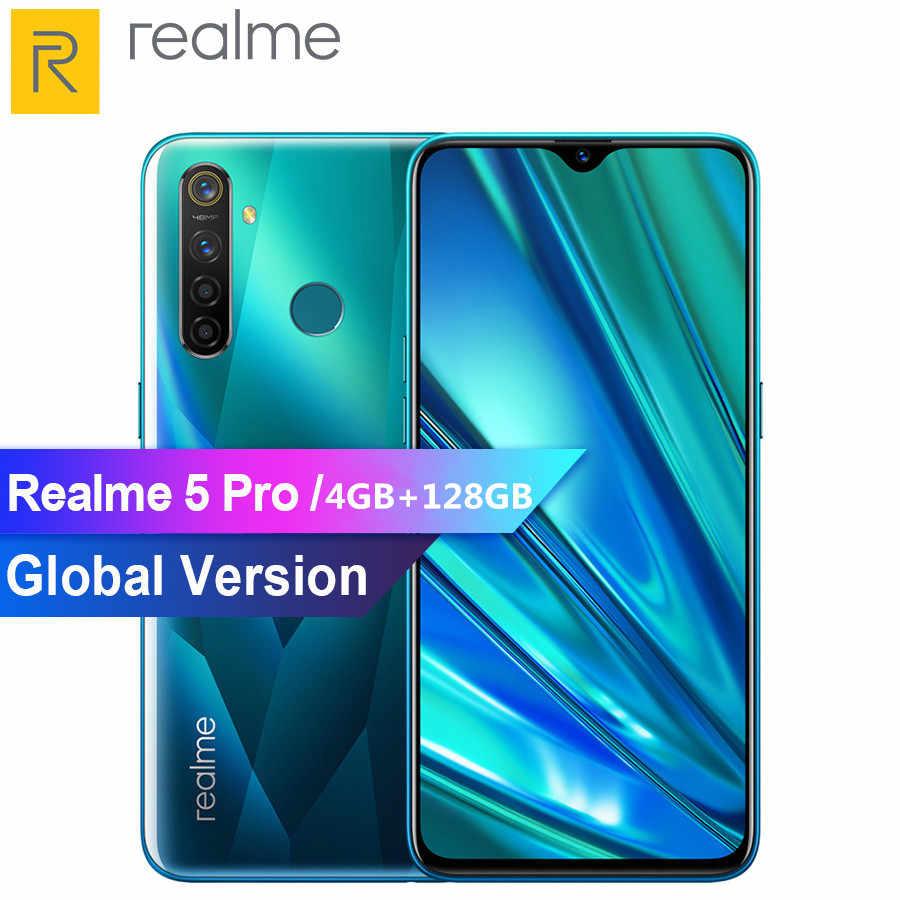 هاتف ذكي من REALME 5 pro 6.3 بوصة 4 جيجا بايت 128 جيجا بايت أندرويد P ثماني النواة 4035mAh 48MP + 16MP كاميرا مزدوجة VOOC شحن سريع 3.0 4G هاتف محمول