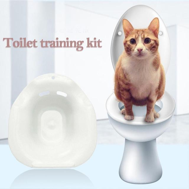 1PC Plastic Cat Toilet Training Kit Cleaning System Solid Urinal Litter Potty Toilet Training Color Tray Supplies Tray Pets C7Q5