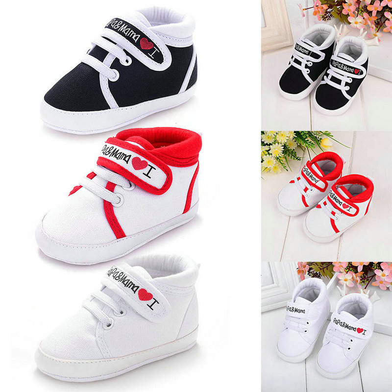 Baby Girl Shoes White I LOVE Papa Mama Soft Sole Anti Slip Shoes Toddler Kids Shoes First Walker Newborn Canvas Shoes 0-18M