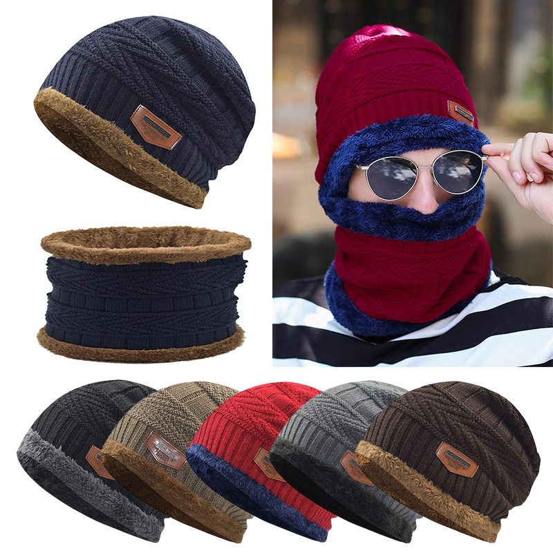 Men Warm Winter Hat Scarf Soft Knitted Hat Scarf Set Skullies Beanies Winter Hat For Women Unisex Knitted Thick Fleece Lined Cap