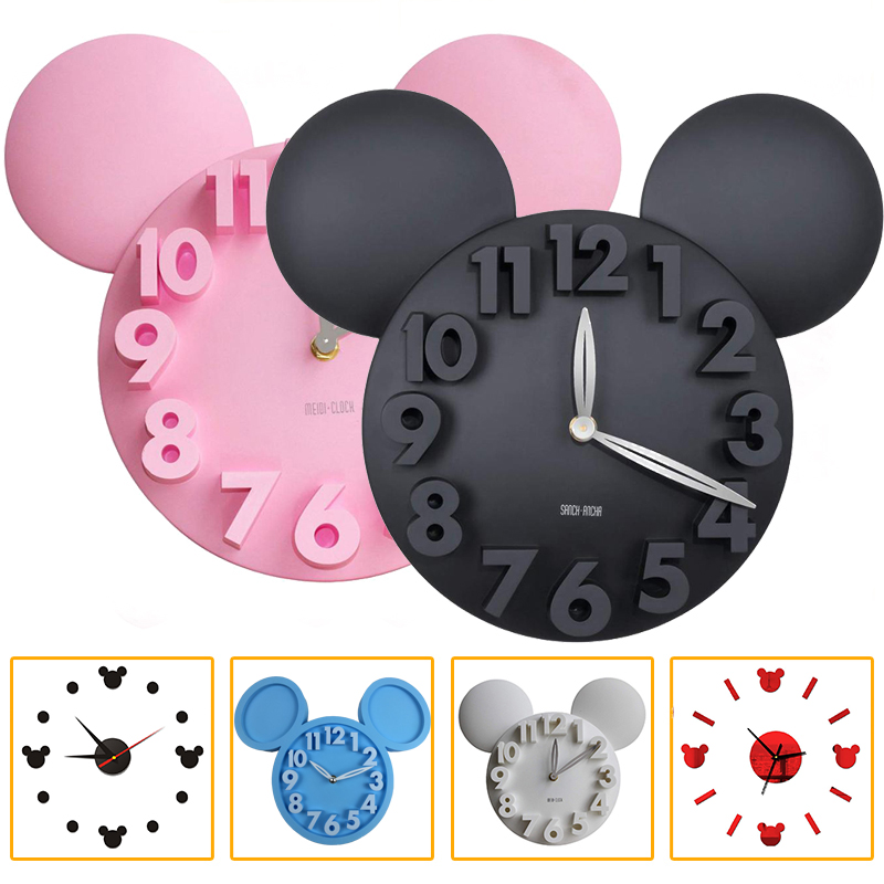 Modern Design Mickey Mouse Big 3d Wall Clock Battery Operation Digital Wall Clocks Decoration For Bedroom  Living Room Kitchen