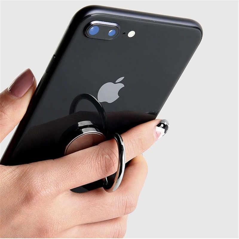 Spiegel universele socket smart ronde metalen vinger ring beugel houder mobiele telefoon stand Car Mount Stand voor xiaomi redmi case
