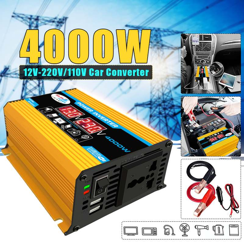 Car <font><b>Inverter</b></font> <font><b>12V</b></font> 220V <font><b>4000W</b></font> Max Power <font><b>Inverter</b></font> Voltage Convertor Transformer <font><b>12V</b></font> To 110V/220V Inversor + LCD Display 2 USB image