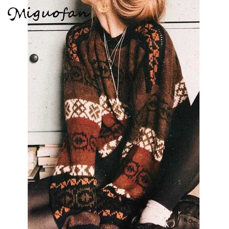 Miguofan outono inverno camisolas vintage pulôveres de malha feminina listrado impresso camisolas de manga longa camisolas femininas topos camisola