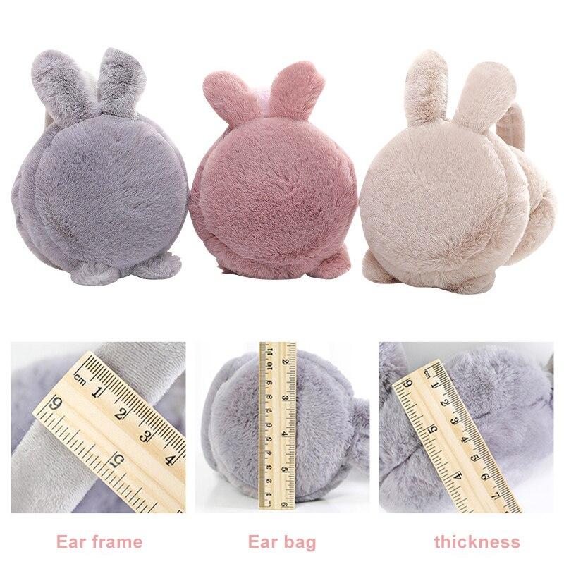 2019 New Fashion Winter Accessories Cute Rabbit Fur Super Soft Earmuffs Foldable Rabbit Ears Womens Warm Portable  Earmuffs