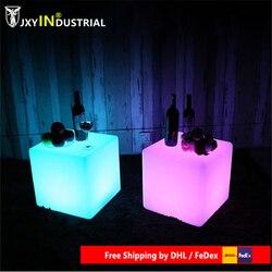 Бесплатная доставка 50 см LED куб стул для наружной вечеринки/Led светящийся Куб Табуреты светодиодные светящиеся световые барные табуреты сме...