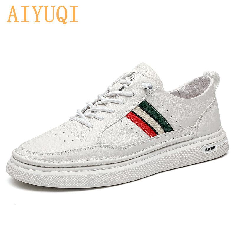 AIYUQI Men's Shoes Spring 2021 New Genhiue Leather White Sneakers Men Student Tide Breathable All-match Casual Shoes Male