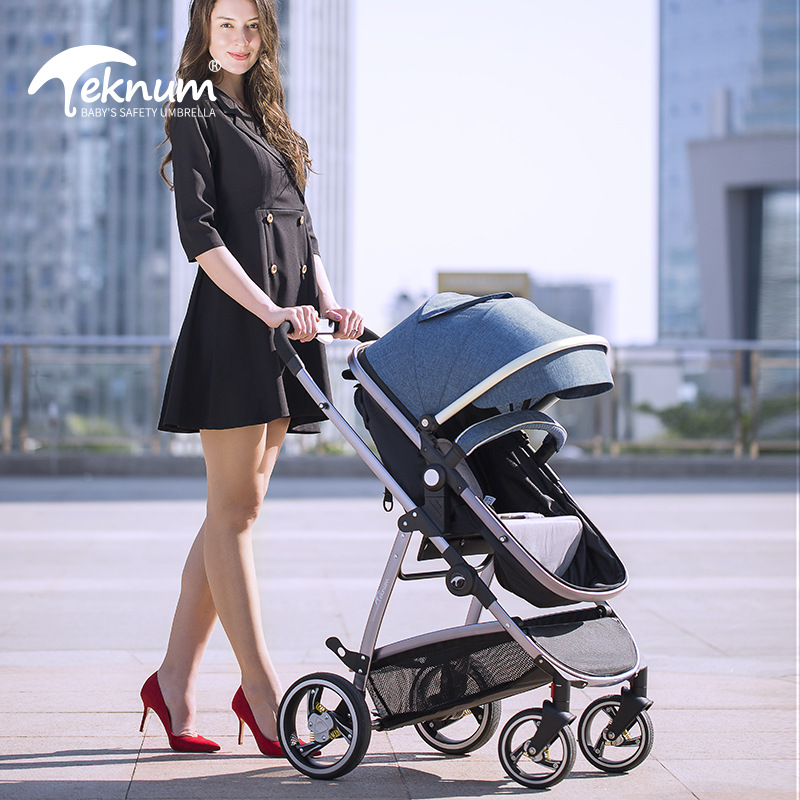 Teknum High Landscape Baby Stroller 2in1 Baby Carriage Can Sit Reclining Two-way Shock Folding Newborn Pram Light Trolly