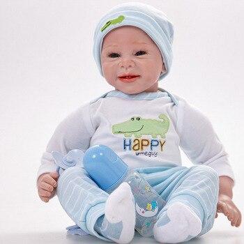 22 inch DOLL TOY Reborn Baby 55 cm Silicone vinyl lifelike Newborn Babies Realistic Cute Bonecas Funny Toys for kids Birthdays