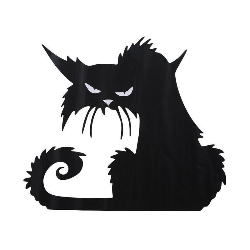 Halloween Large Scary Black Cat Window Sticker Decor Wall Decal Favor Z0G9